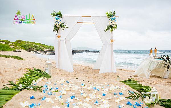 bamboo white arch on the sand with a touch of baby blue