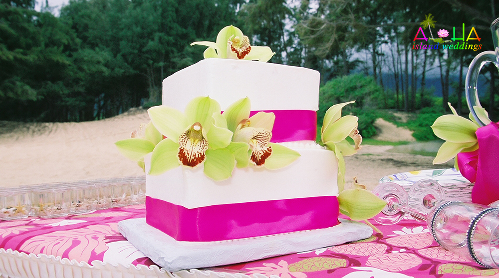 cake on the beach with dark pink ribbon and green orchids